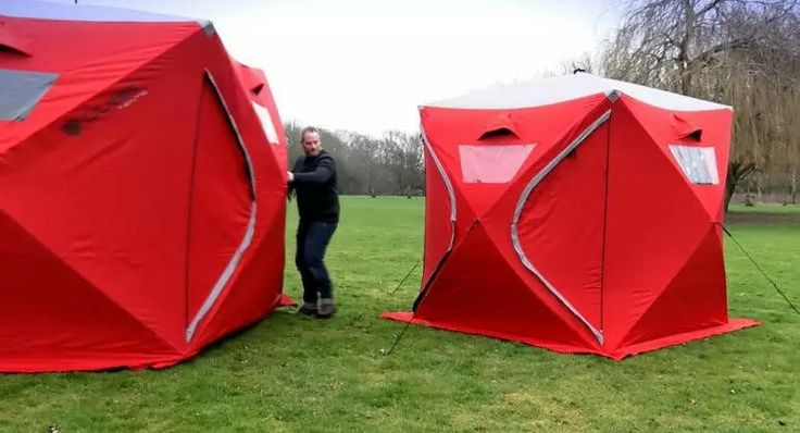 Fatherly cube tents pop up in 2 minutes. Can also purchase solar panel.