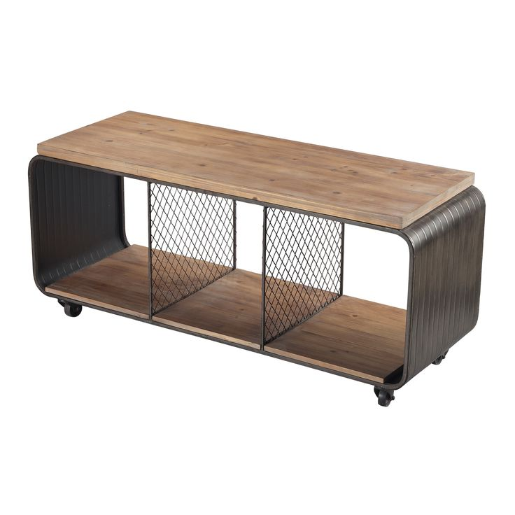 Maltapan-Wood Tone / Metal Industrial Tv Stand With Wire Accents Set On 4 Wheels Wide