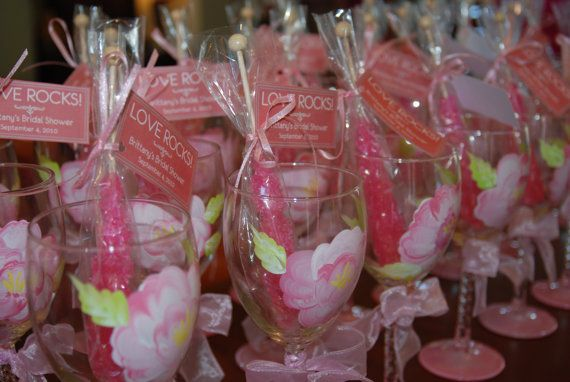 Wedding Wine Glass Bridal Party, Pretty in Pink Theme,  Hand Painted Favor Shower Gift (15.00 each)