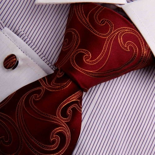 Amazon.com: Dark Red Designer Ties Men Play Brown Paisley Woven Silk Neckie Cufflinks Present Box Set Y Business Necktie Set A7036: Clothing