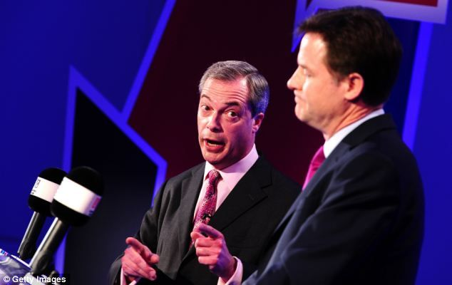 Clash: Ukip leader Nigel Farage and Lib Dem Nick Clegg clashed over whether Britain should leave the EU in a live TV debate