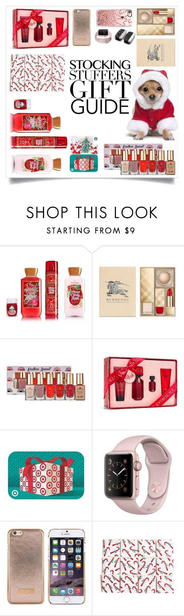 """""""Stocking Stuffers"""" by alliesmns ❤ liked on Polyvore featuring Burberry, Barry M, Victoria's Secret, Ted Baker and Casetify"""
