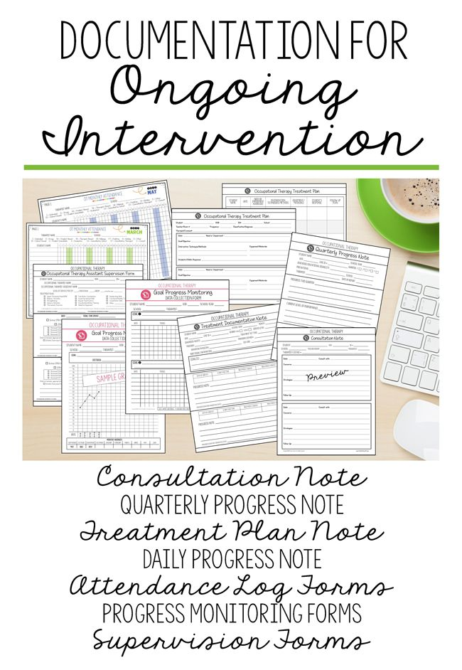 Tools for planning and documenting Pediatric Occupational Therapeutic Interventions and Data Collection/Progress.