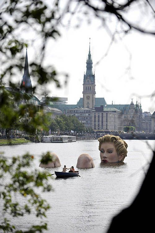 Hamburg, Germany - for the lake - giant person sculpture in the water - #S0FT PIN MIX