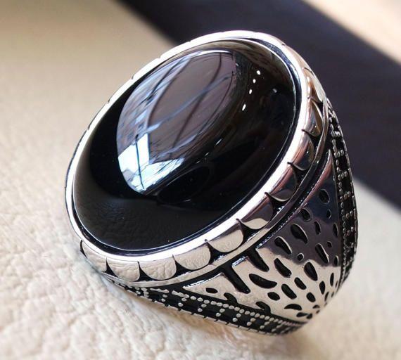 remise pour vente renommée mondiale conception de la variété Onyx noir agate aqeeq en argent sterling 925 vintage hommes ...
