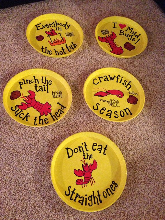 """Set of Four """"Crawfish Platters"""" (five designs to choose from) on Etsy, $35.00"""