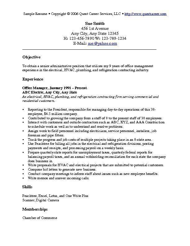 resume objectives samples general