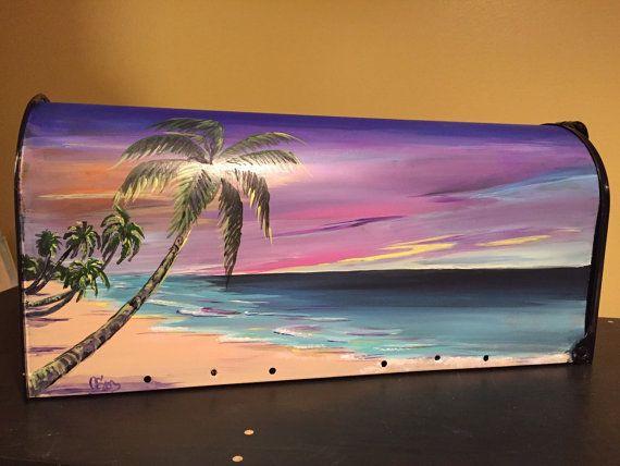 Sunset Beach painted mailbox Tropical beach hand by OlenkasArt