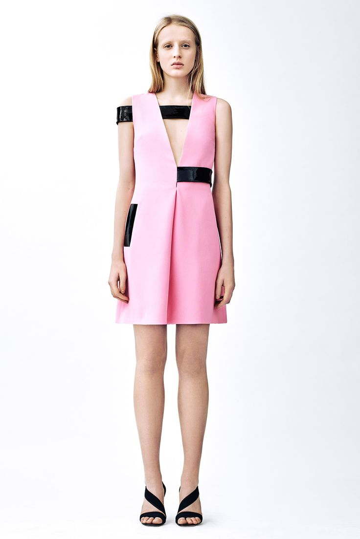 Christopher Kane   Pre-Fall 2015   07 Pink sleeveless mini dress with black patent leather details