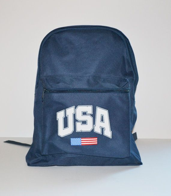 Vintage 90s Canvas Backpack USA Blue and White by founditinatlanta