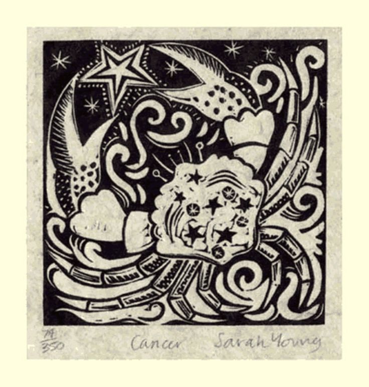 Cancer (June 22 - Jul 22) - Linocut by Sarah Young