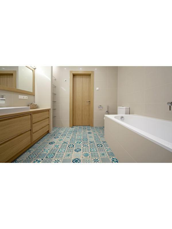 Lame vinyle pvc clipser retro bleu starfloor click 30 - Sol plastique salle de bain ...