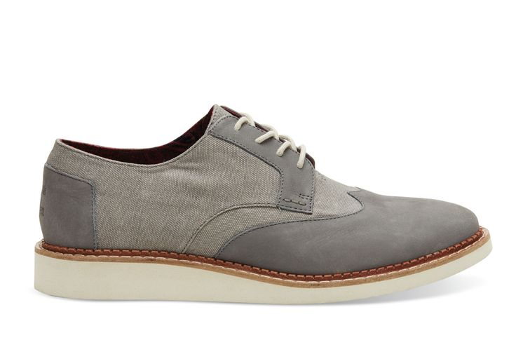 undefined Dark Grey Leather Washed Canvas Men's Brogues