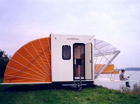 Interesting motorhomes and trailers.