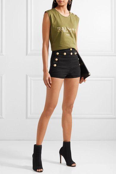Button-detailed stretch-denim shorts #balmain #designer #outfit