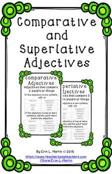 These+11+x+17+inch+anchor+charts+introduce+and+reinforce+comparative+and+superlative+adjectives.+Examples+and+rules+are+listed+for+each+type+of+adjective.Includes+color+and+black+and+white+posters.*Please+remember+to+rate+my+product*