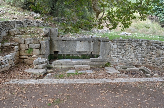 Ancient fountain at Phigalia, under a plane tree