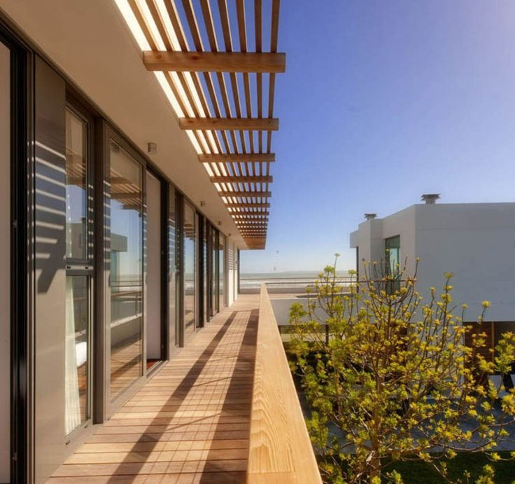 Exterior Wood Awning For Deck Balcony With Slatted Roofs