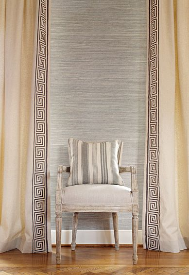 Grasscloth Plus Schumacher Greek Key Curtains In Truffle