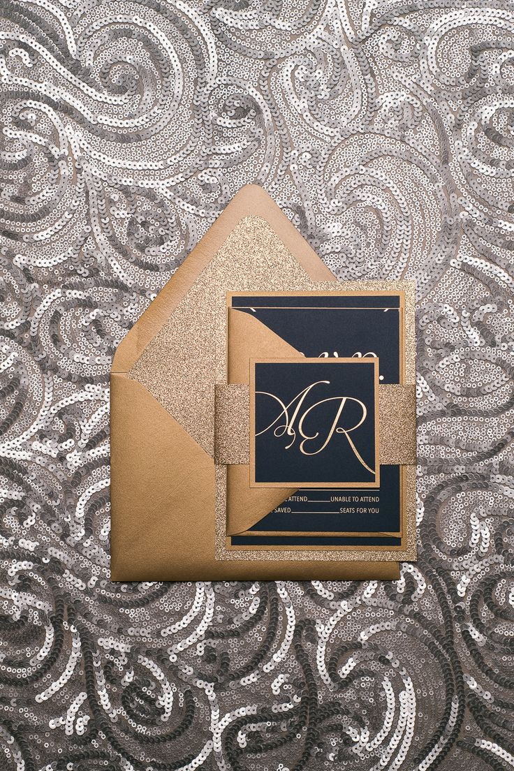 Gold Foil on Navy Glam Wedding Invitations