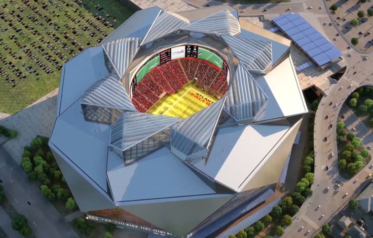 Fly-Through: New Atlanta Stadium - Start in the clouds and dive down to ground level and enter the New Atlanta Stadium via one of its vast plazas, glide around the seating bowl and peek inside....