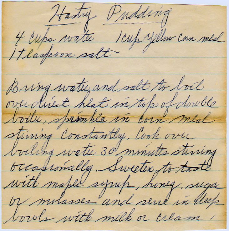 """Ben Franklin Unit - Hasty Pudding recipe... Think about the song """"Yankee Doodle"""" hee hee"""