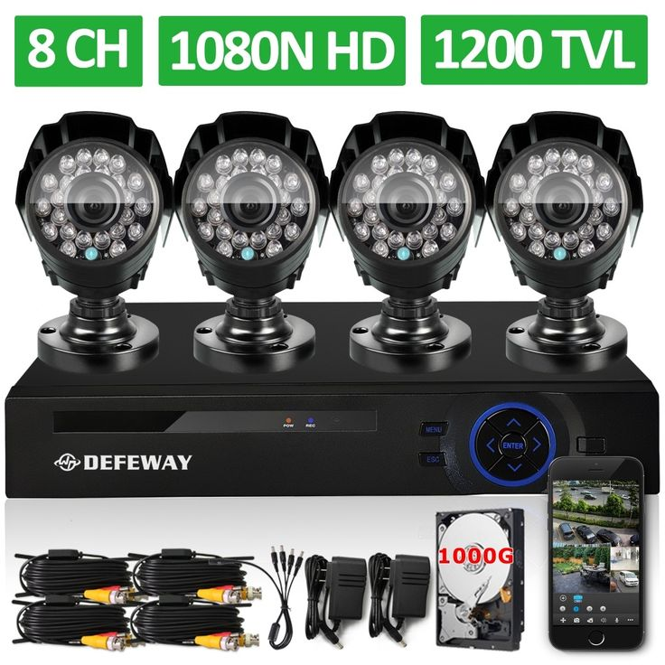 202.99$  Buy here - http://aliz4o.worldwells.pw/go.php?t=2054351556 - DEFEWAY 8 Channel 1080N DVR 1200TVL 720P HD Outdoor Security Camera System 1TB Hard Drive 8CH HDMI CCTV DVR  Kit  AHD Camera Set 202.99$