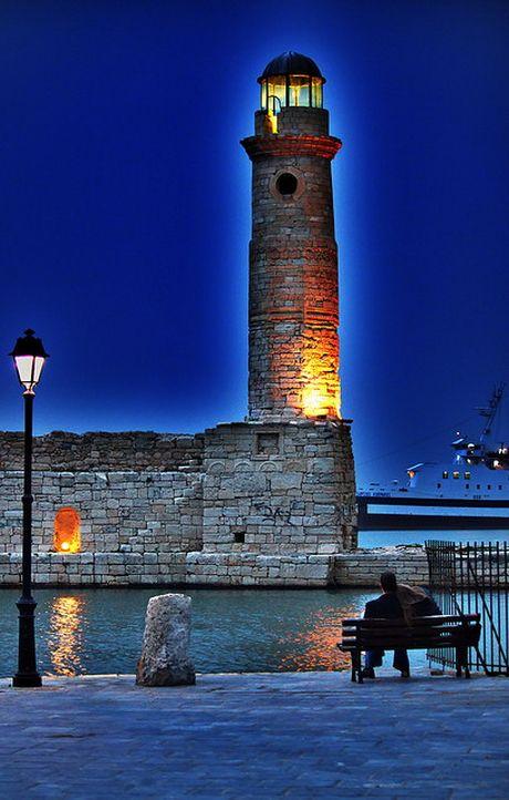 The lighthouse at the Venetian harbour, Rethymno island of Creta Hellas.