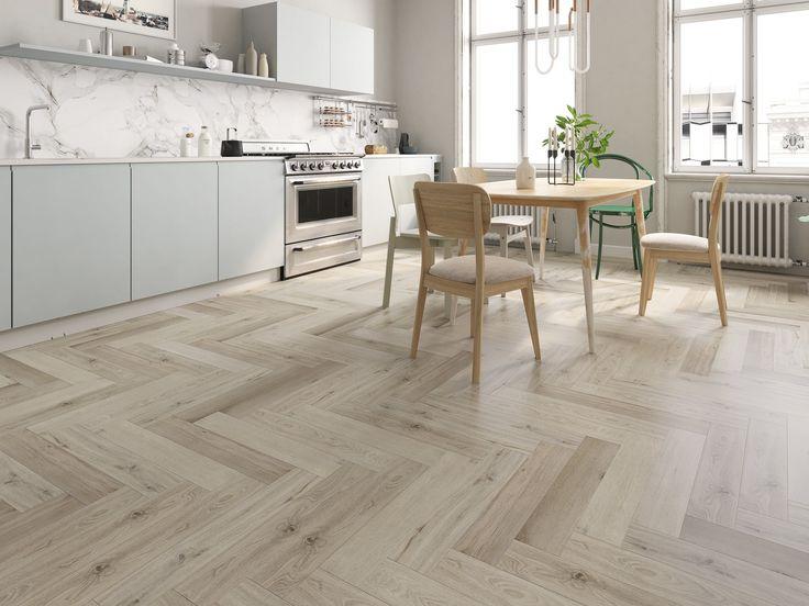 Impervia Luxury Vinyl Herringbone White, White Herringbone Laminate Flooring