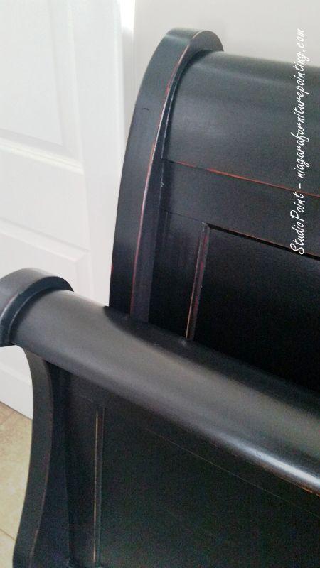 Handsome Sleigh Bed in Lamp Black - Studio Paint