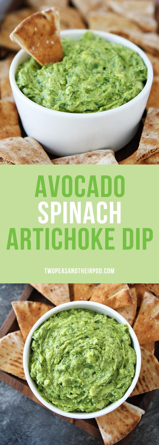 Avocado Spinach Artichoke Dip is the perfect dip for parties, potlucks, game day, and every day snacking. It is vegan, gluten-free, dairy-free, and SO delicious! Serve with pita chips, crackers, or cut up vegetables. Everyone loves this easy and healthy dip! #stpatricksday