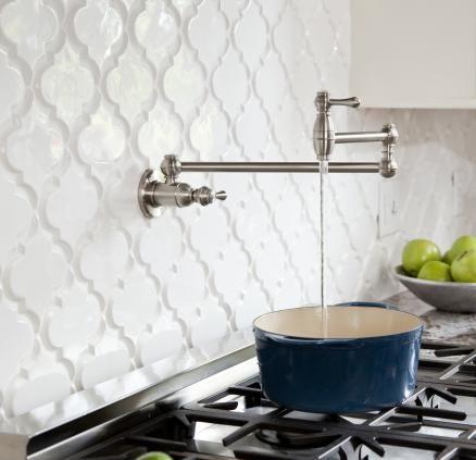 Beveled arabesque tile whisper white kitchen backsplash for Beveled arabesque tile backsplash