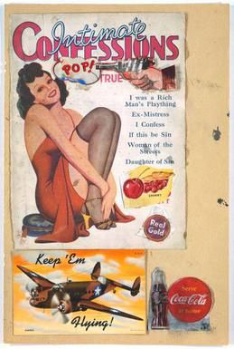 "An image of a sexy woman smiles as a revolver aimed at her head goes ""Pop!"" Eduardo Paolozzi, I was a Rich Man's Plaything (1947). Part of his Bunk! series, this is considered the initial bearer of ""pop art"" and the first to display the word ""pop""."