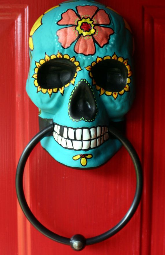 Look at this @Kaigen House Sugar Skull Day of the Dead doorknocker hand painted by dalaimomma