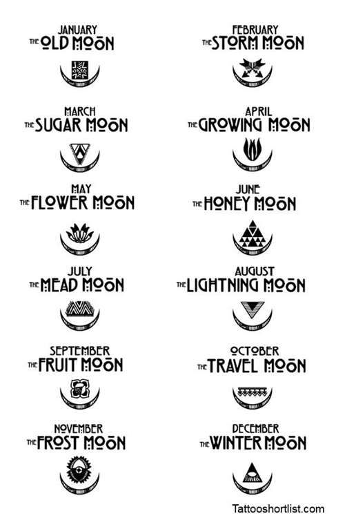 Seasonal Moons Tattoo Symbols - Tattoo Shortlist