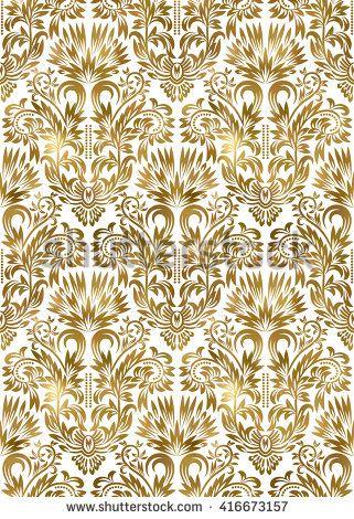 #Golden white #vintage #seamless #pattern. #Gold #royal #exotic #wallpaper. #Arabic #background #ornament.