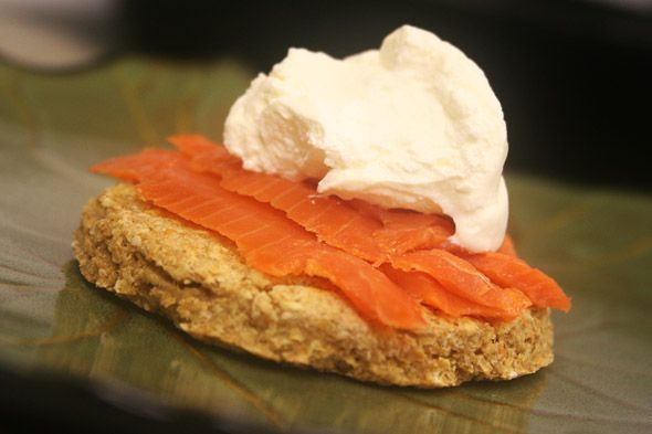 Scottish oatcakes served with creme fraiche and smoked salmon.