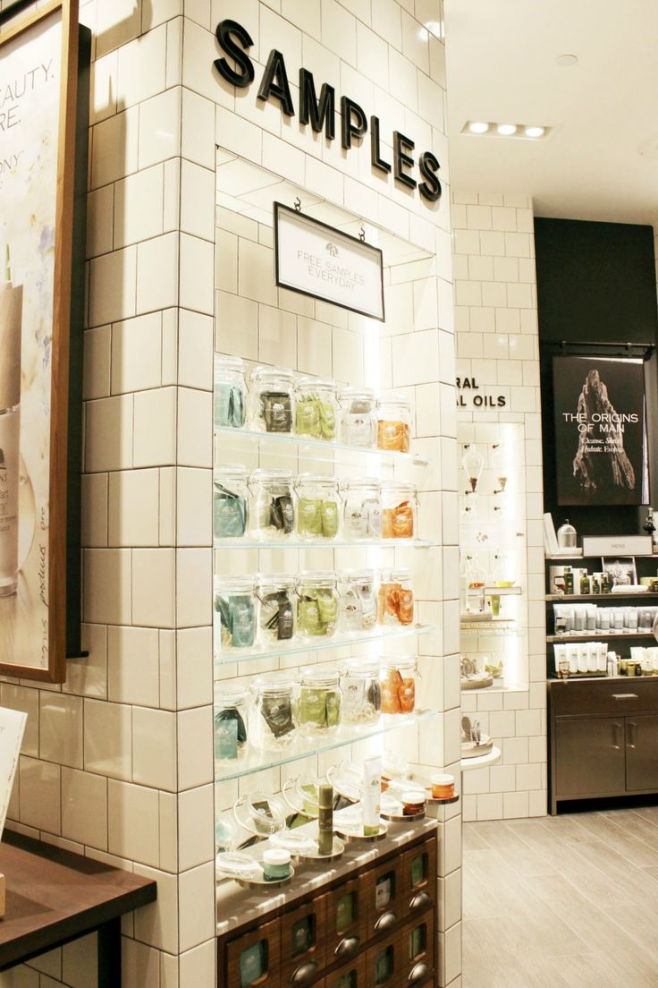 Origins new stores provide a wall of free samples! Learn more about the other fun features of this skincare and makeup brand... | Brighterdarling.com