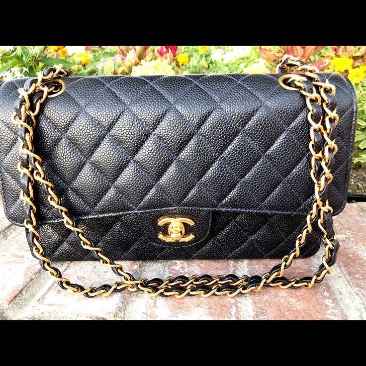 Classic Chanel Medium Navy Blue Caviar Leather Double Flap Bag With 24k Gold Hardware  $2999.00 2000-2002 Production   Posh Boutique  Tucson, Arizona
