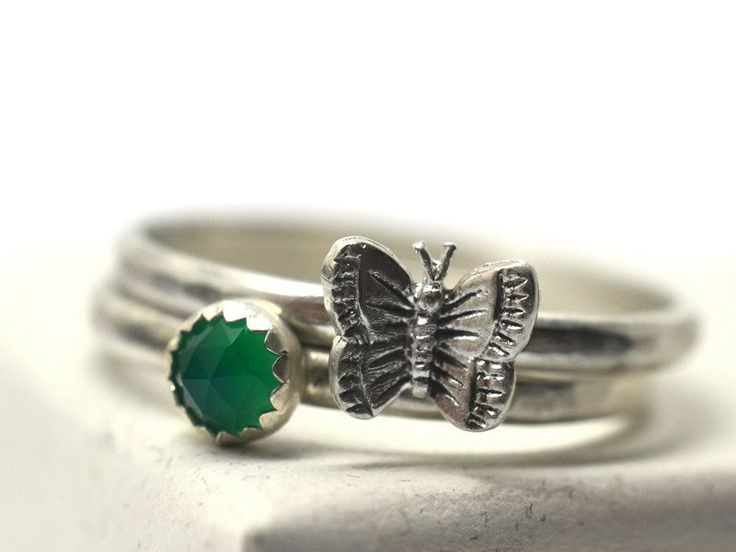 Handmade Sterling Silver Butterfly Charm & 4mm Green Onyx Ring Set