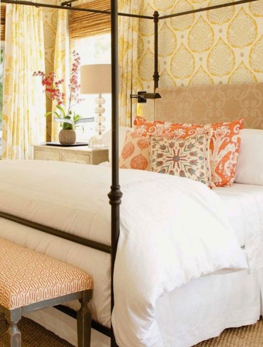 guest bedroom inspiration white bedding with pops of color