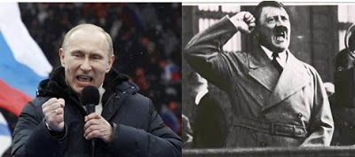"""When history repeats itself"". Follow the link to read an article comparing Vladimir Putin to Adolf Hitler."
