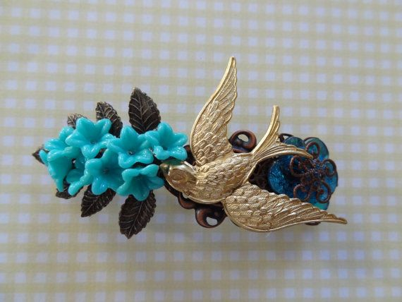 Blue Bells Hair Barrette by wynbrit on Etsy, $28.00