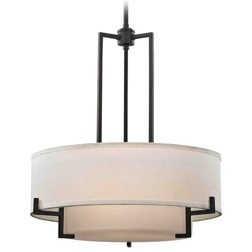 Modern Drum Pendant Light with White Glass in Bronze Finish | 7013-78 | Destination Lighting