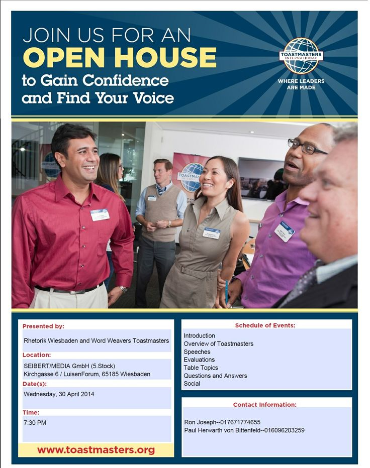 141 best Our Toastmasters images on Pinterest Public speaking - free open house flyers