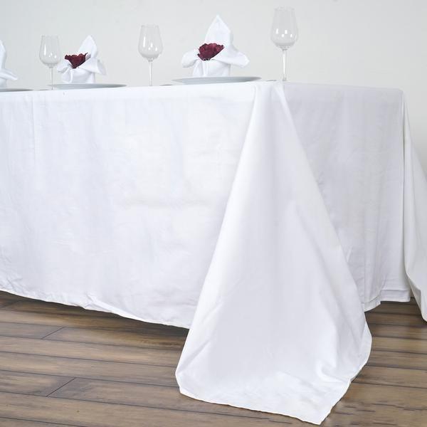 90x156 Rectangle Chambury Casa 100 Cotton Tablecloth White Cotton Tablecloths Table Cloth Table Linens