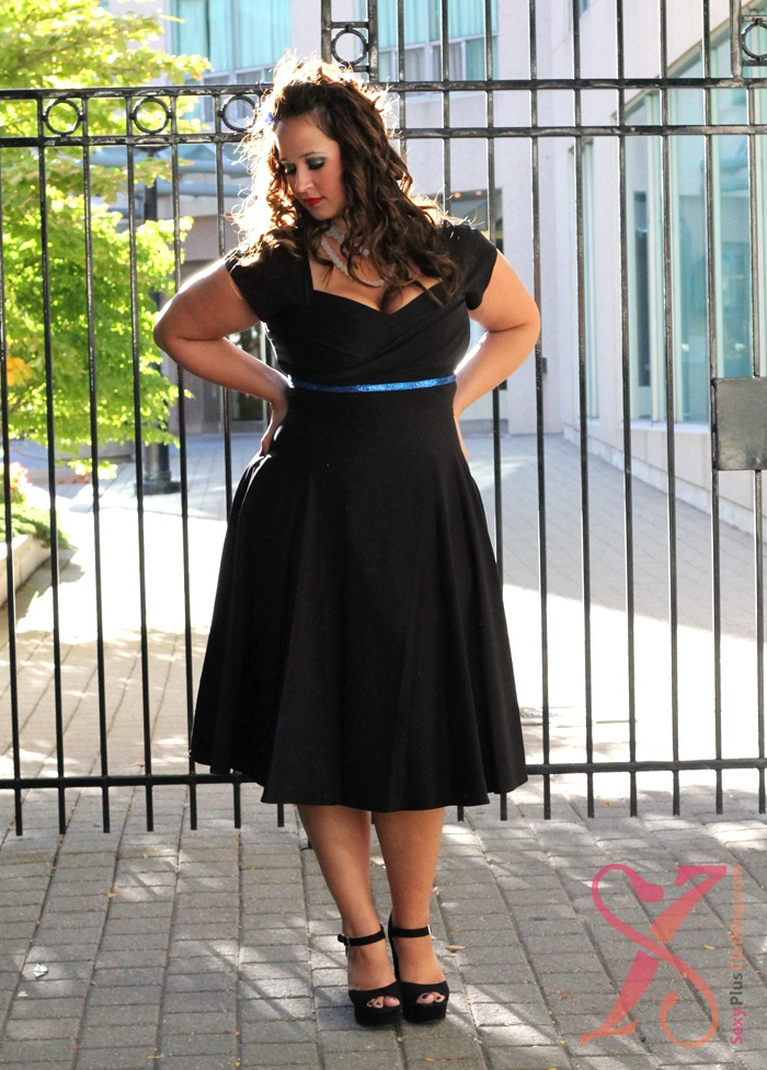 Dress up or dress down black dress with accent. Big beautiful curvy real women, real sizes with curves, accept your body sizes, love yourself no guilt, plus size, body conscientiousness fashion, Fragyl Mari embraces you!