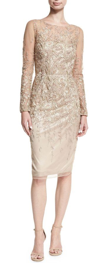 Long-Sleeve Embroidered Metallic Lace Cocktail Dress by David Meister. David Meister cocktail dress in embroidered metallic lace. Jewel neckline. Long, sheer sleeves. Sheath silhouette. Hidden back zip. Hem hits knees. Polyester. Dry clean. Imported. #davidmeister #dresses