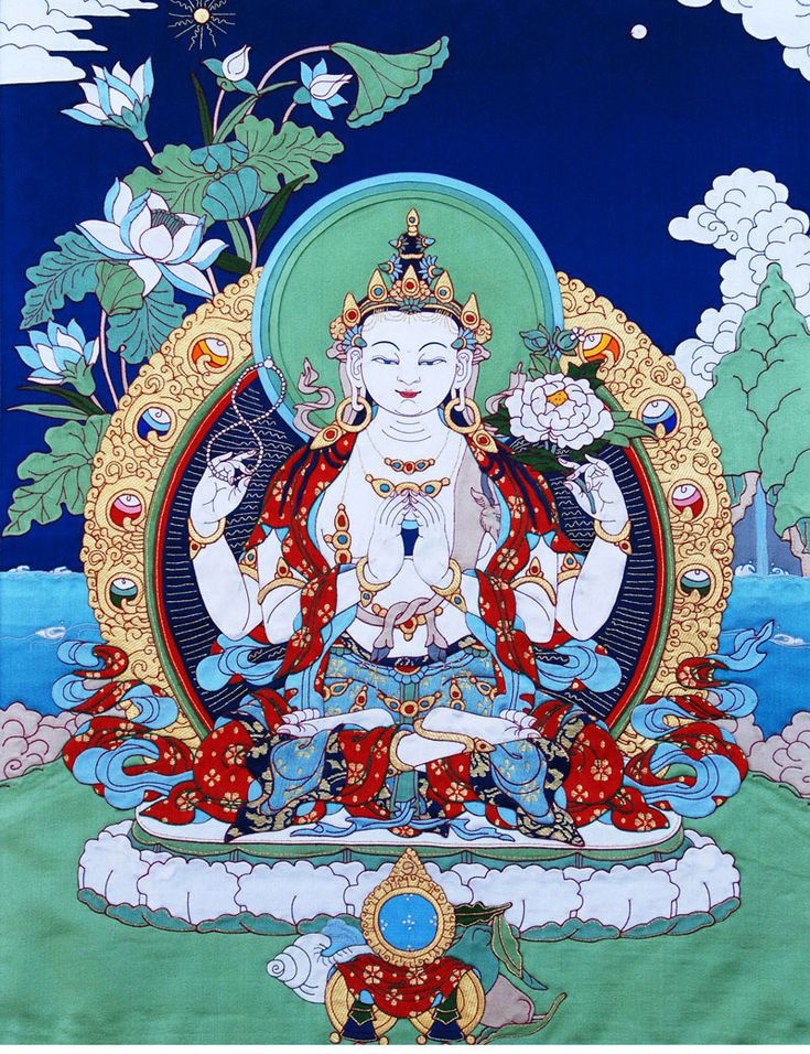 Four-Armed Avalokiteshvara Applique Thangka @ NORBULINGKA ...