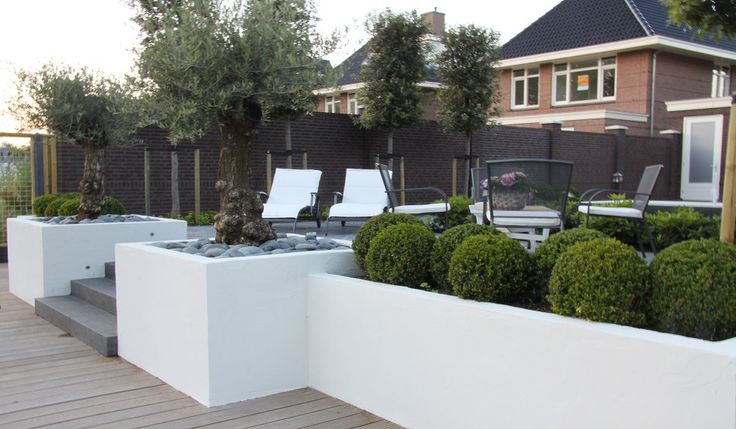 Design tuin 2.5 trap tredes met plantenbakken